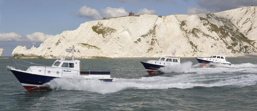 The latest Seaward Nelson twin-screw all-weather motor cruisers (left to right) Seaward Nelson 25 E 14, the Seaward Nelson 29 E 15, and the Seaward Nelson 35 E 15