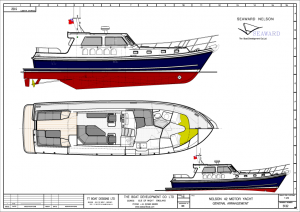 Profile and general arrangement plan for Seaward's new flagship Nelson 42 E16 with aft cockpit. A second version with a double aft cabin is also available.